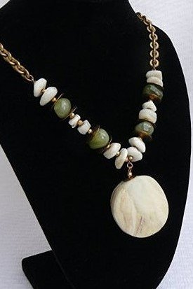 Miriam Haskell Antique White and Jade stone Necklace