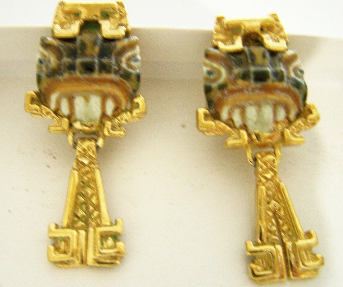 Salvador Teran Very Rare Taxco Mexico Ceramic Earrings