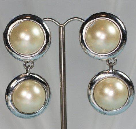 Kenneth J Lane (KJL) Pearl Cabochons Earrings