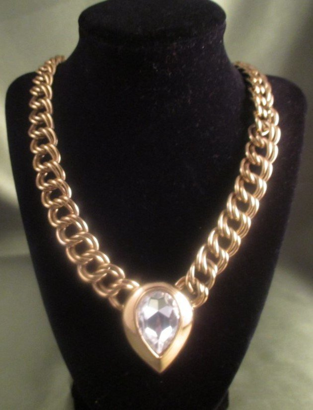 Napier Crystal and Gold Tone Statement Necklace