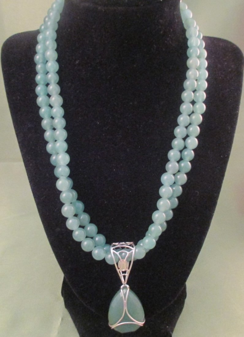Jade & Sterling Silver Necklace (94.8g)
