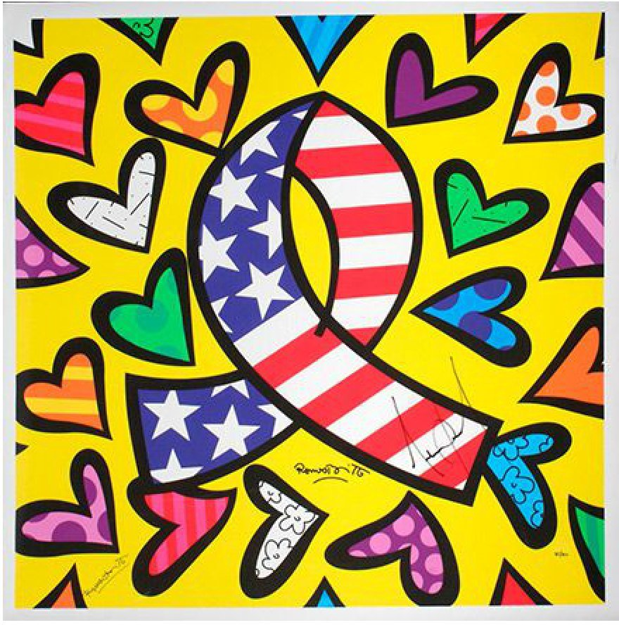 Romero Britto - What More Can I Give **SIGNED BY MJ**