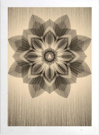 Shepard Fairey X Kai & Sunny - Gold Collaborative Print