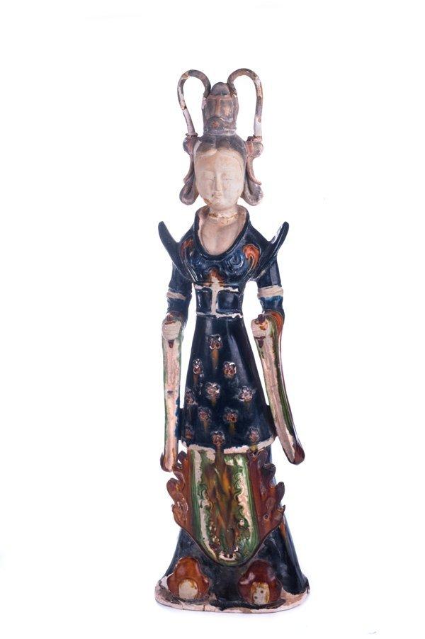 a large sancai-glazed pottery figure of a court lady