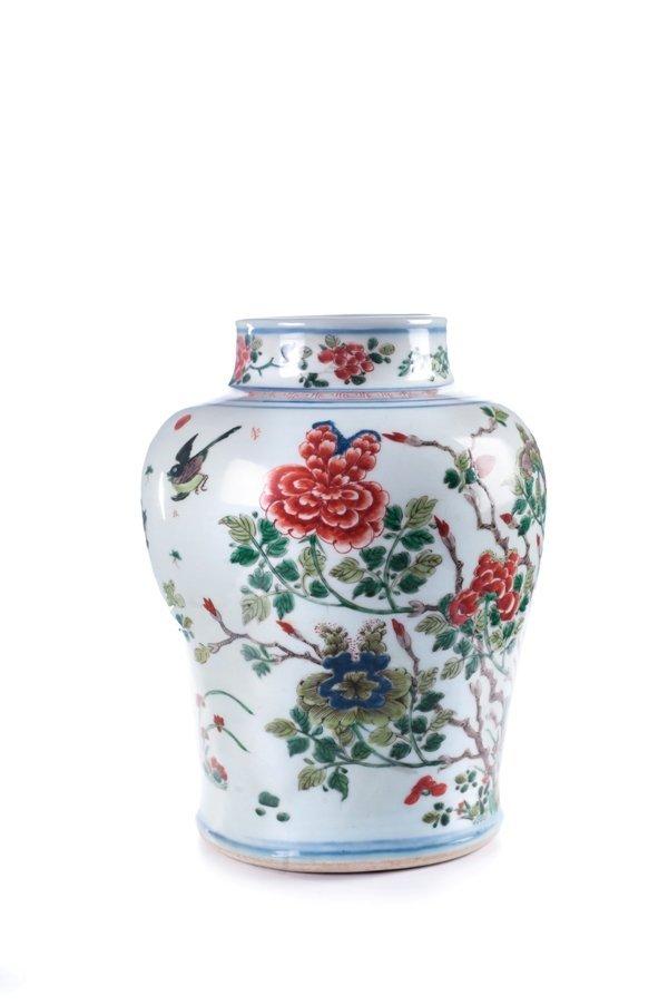 a large chinese famille verte porcelain jar. Qing