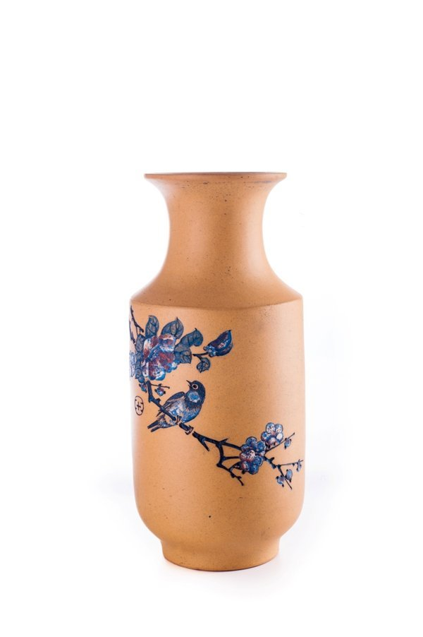 20th century carved yixing vase With mark