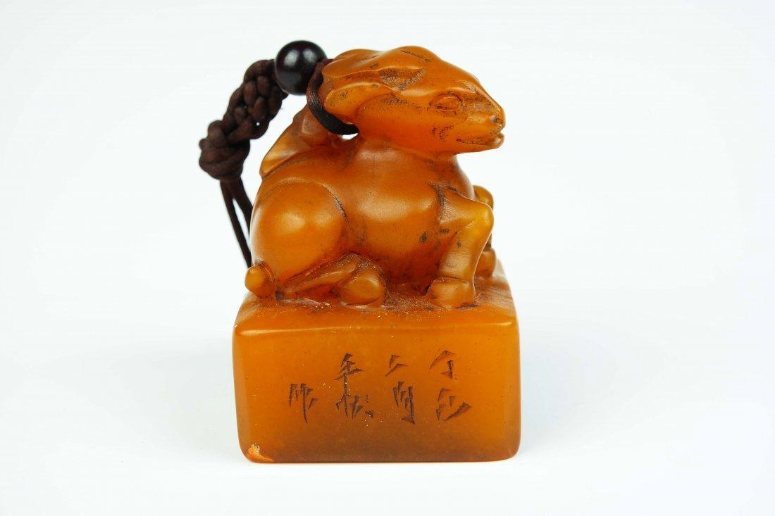 a yellow shoushan stone seal - 3