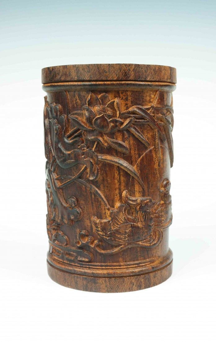a hardwood brush pot