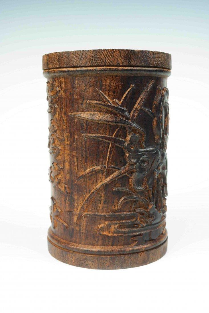 a hardwood brush pot - 2