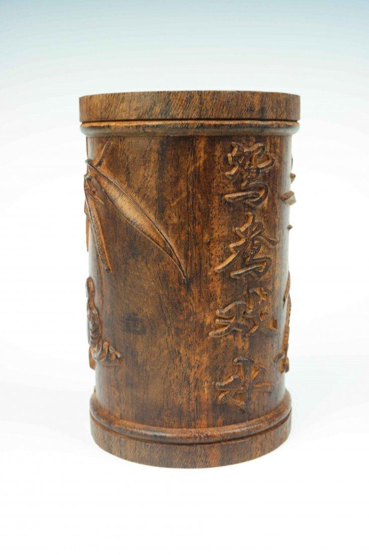 a hardwood brush pot - 3