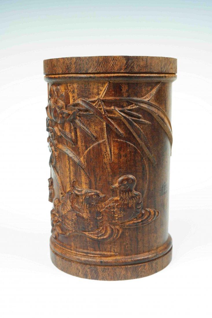 a hardwood brush pot - 4