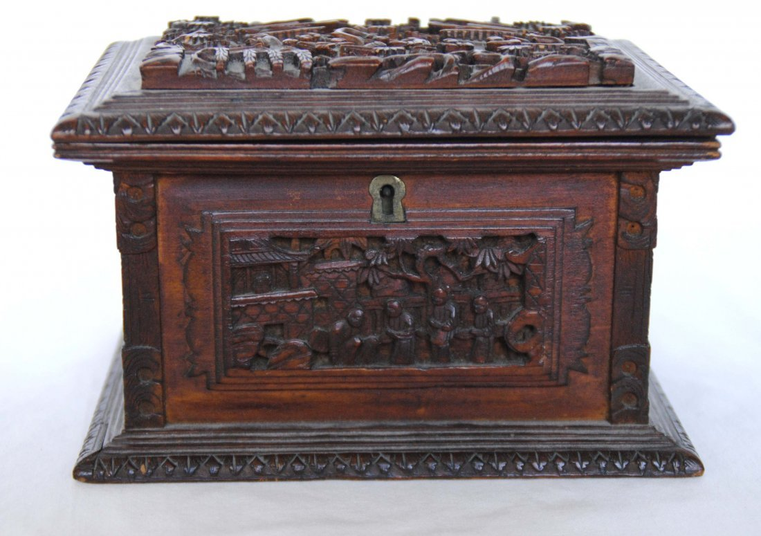 19 th  Chinese Antique Carving  Jewelry Box