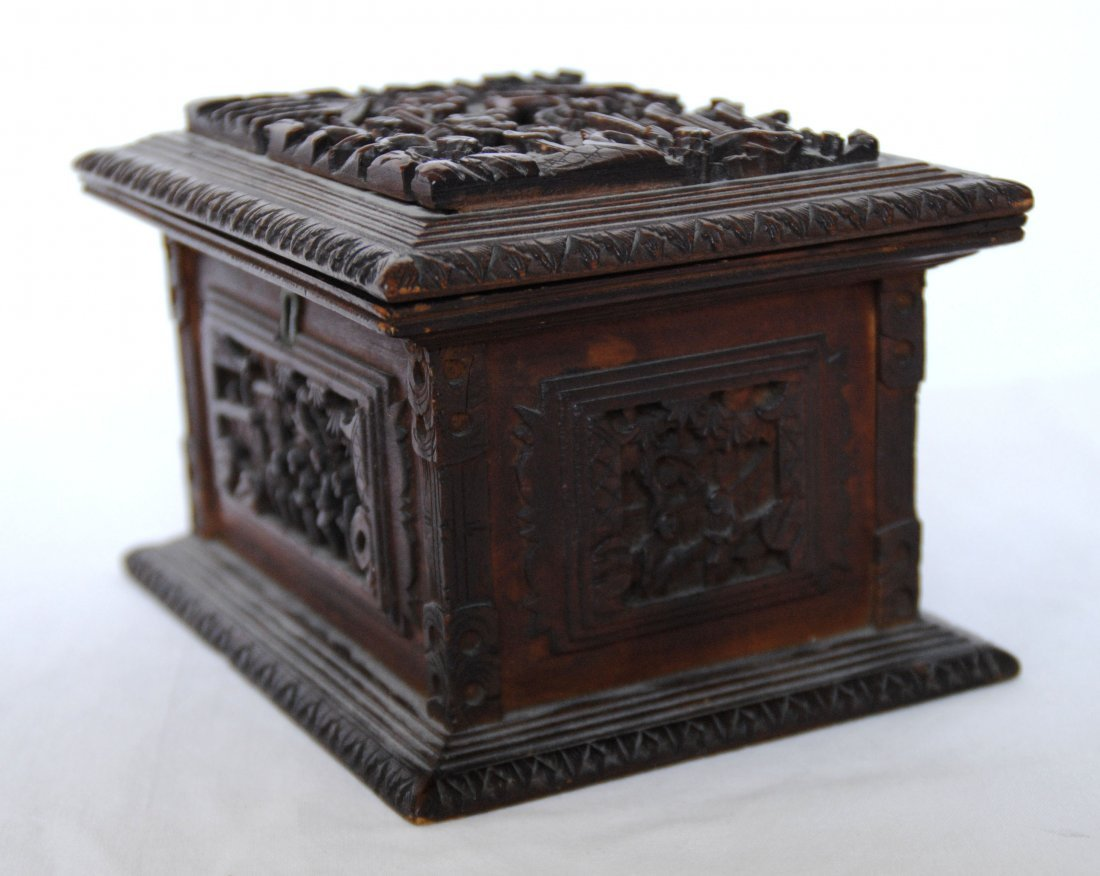19 th  Chinese Antique Carving  Jewelry Box - 2