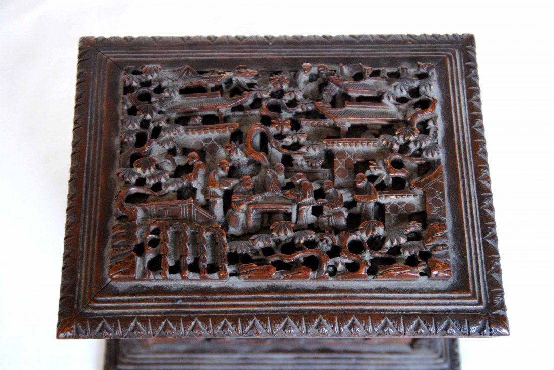 19 th  Chinese Antique Carving  Jewelry Box - 3