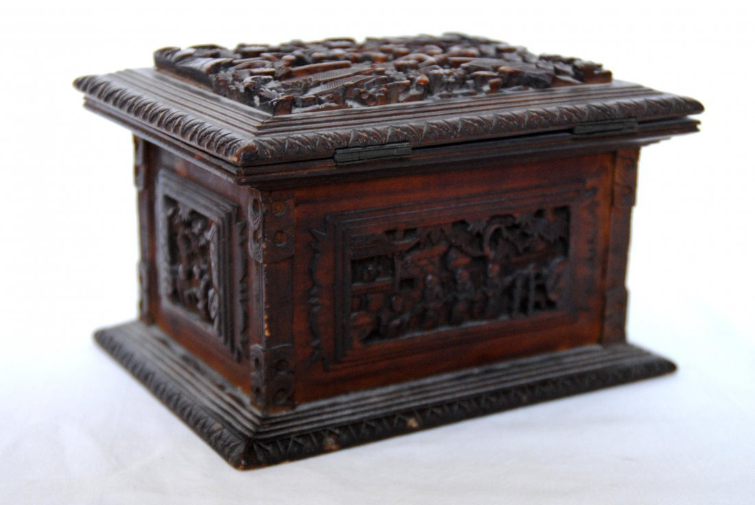 19 th  Chinese Antique Carving  Jewelry Box - 4