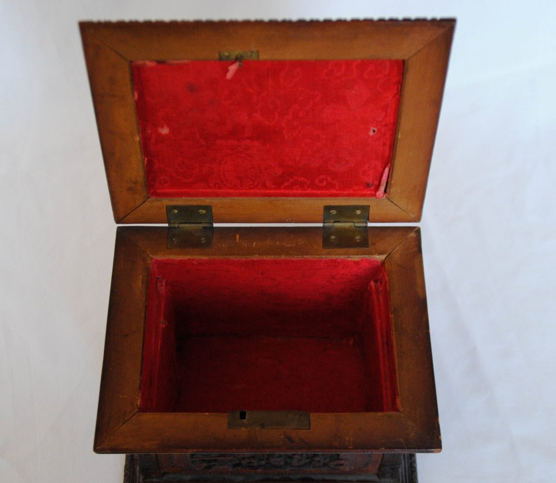 19 th  Chinese Antique Carving  Jewelry Box - 5