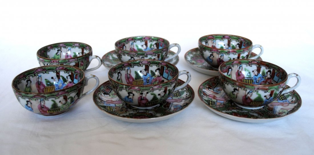19 th  Chinese Famill Rose 6cup  , 4 dish