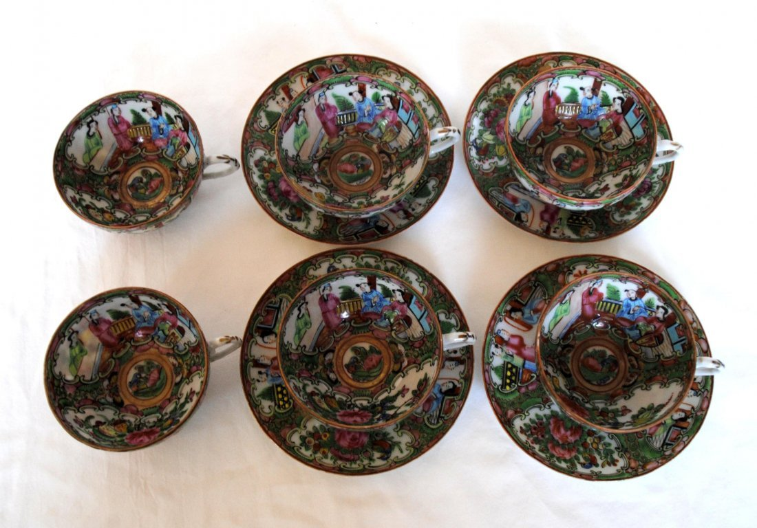 19 th  Chinese Famill Rose 6cup  , 4 dish - 2