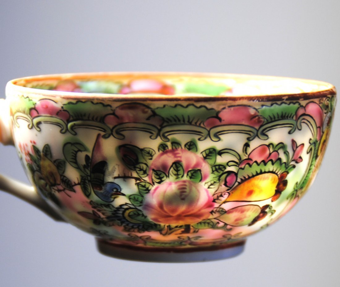 19 th  Chinese Famill Rose 6cup  , 4 dish - 3