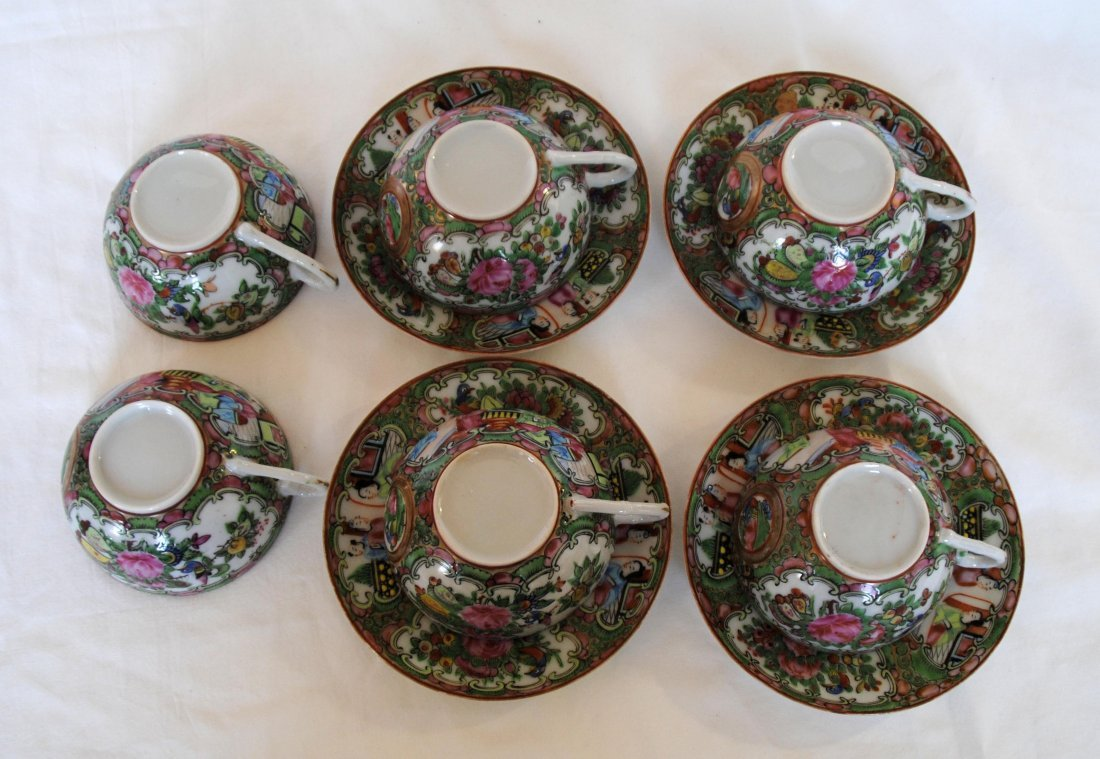 19 th  Chinese Famill Rose 6cup  , 4 dish - 4