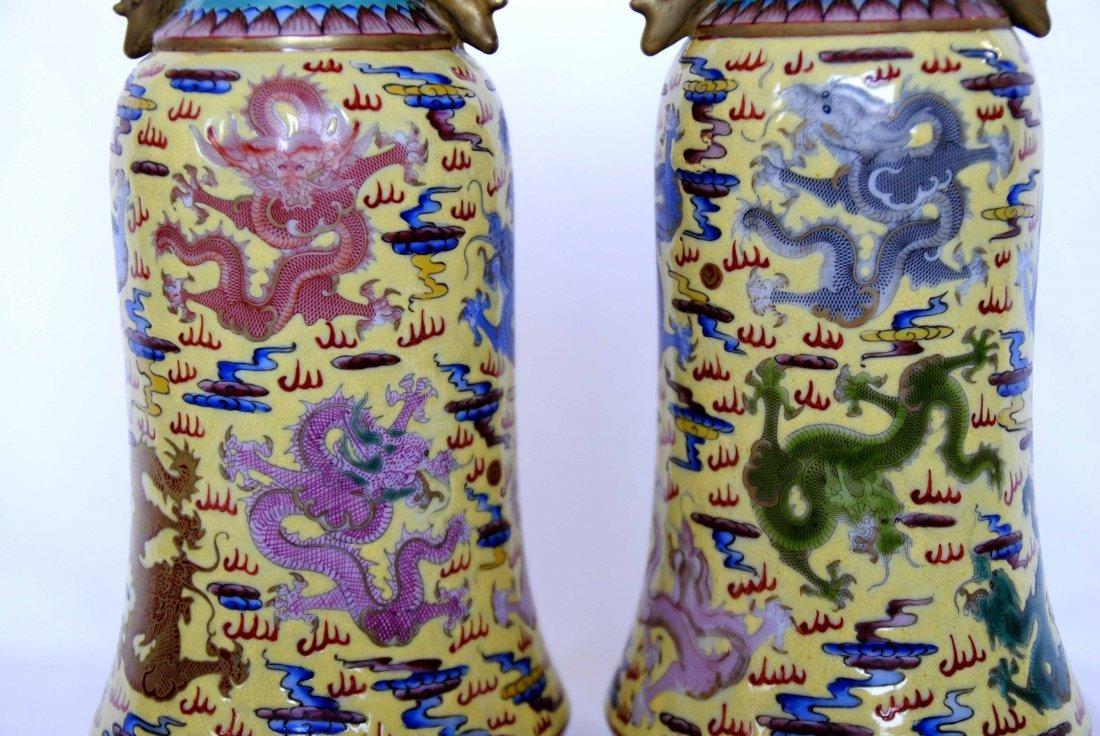 Chinese  9Dragon Vase  1Pair YongZheng  Mark - 2