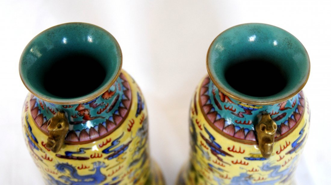 Chinese  9Dragon Vase  1Pair YongZheng  Mark - 5