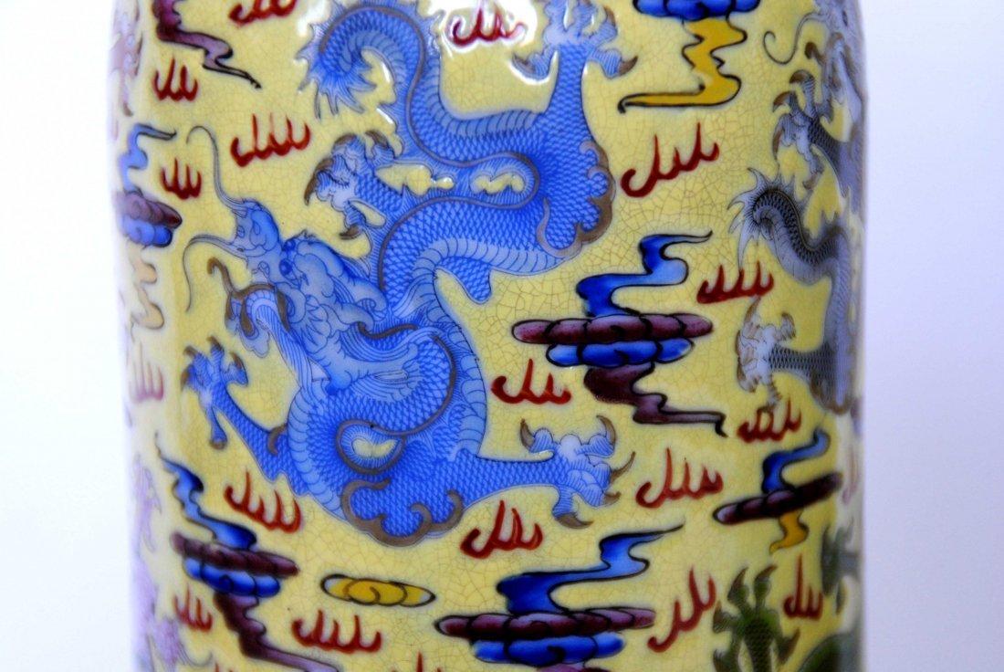 Chinese  9Dragon Vase  1Pair YongZheng  Mark - 6