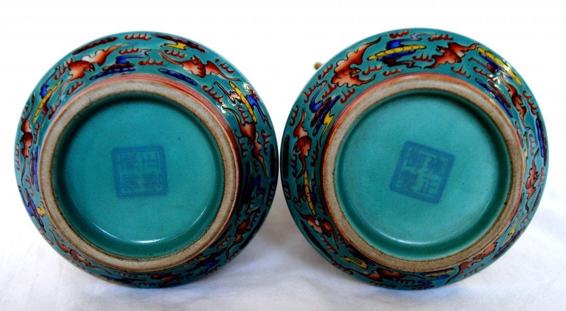 Chinese  9Dragon Vase  1Pair YongZheng  Mark - 7