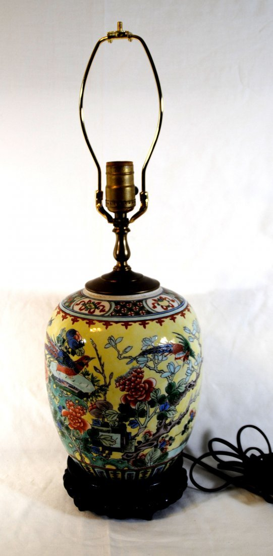 Chinese Famill  Rose Lamp