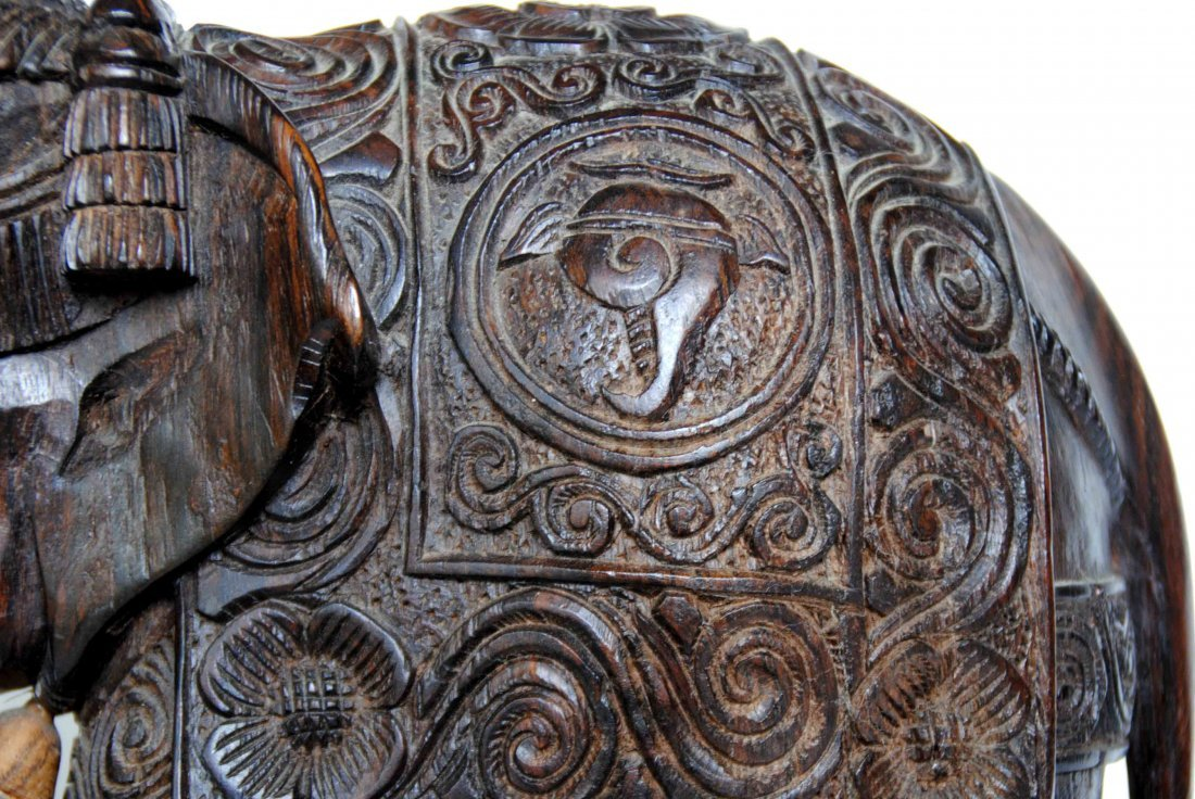 Asia  Wood Carving Elephant - 3