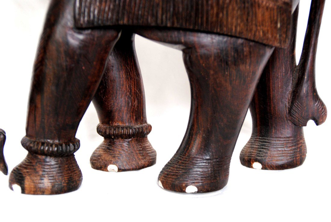 Asia  Wood Carving Elephant - 4