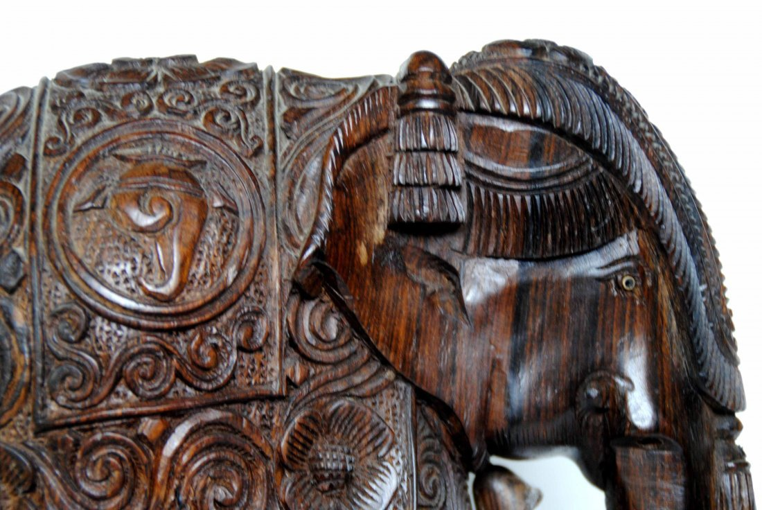 Asia  Wood Carving Elephant - 7
