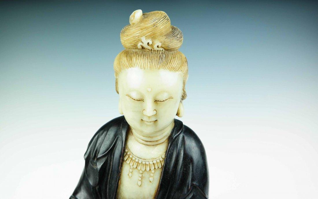 a jade and tan wood Guanyin - 2