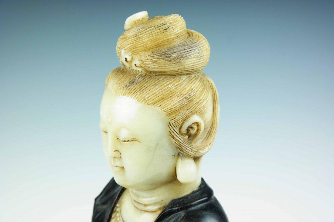 a jade and tan wood Guanyin - 4