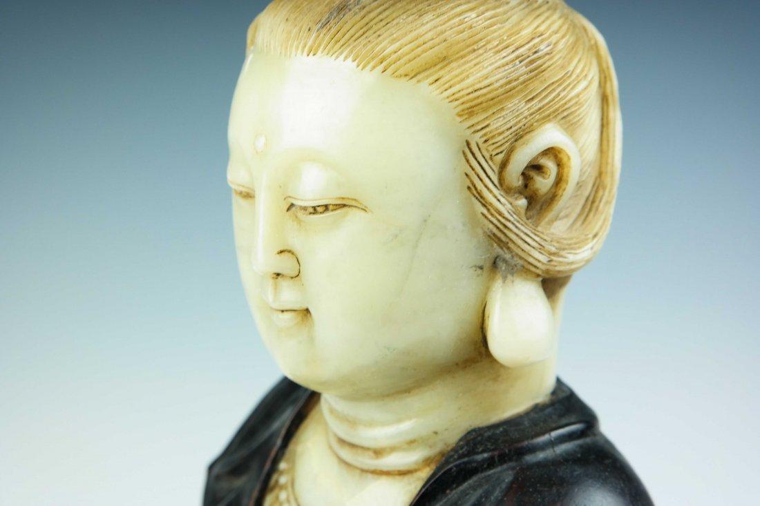a jade and tan wood Guanyin - 5