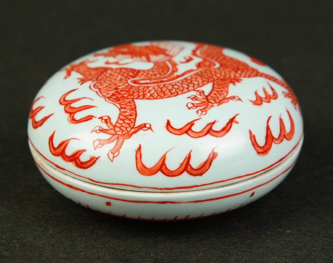 Chinese Iron Red Porcelain Box with Dragon Decoration,