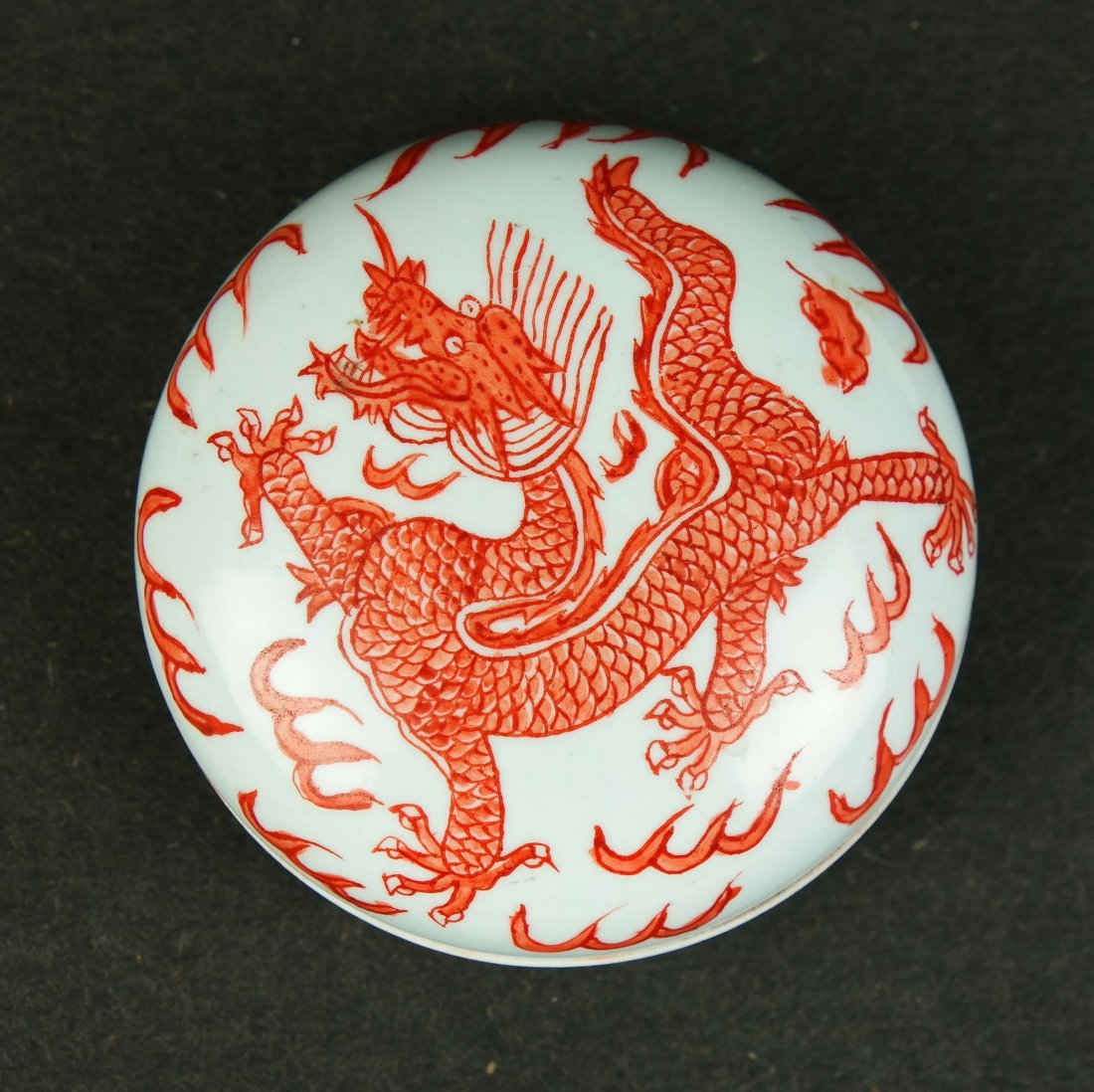 Chinese Iron Red Porcelain Box with Dragon Decoration, - 2