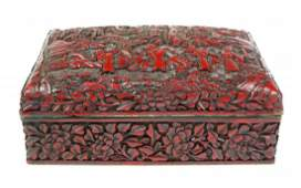 Finely Carved Small Red Lacquer Box Qianlong Mark
