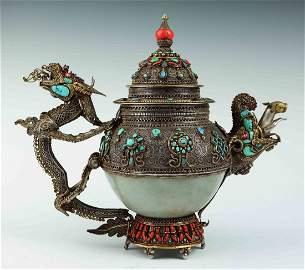 a hetian jade silver gilt dragon pot
