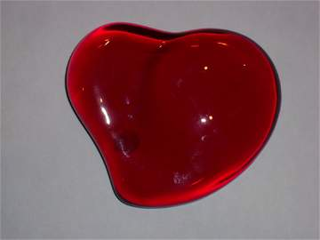 TIFFANY SIGNED Art Glass RED HEART Paperweight