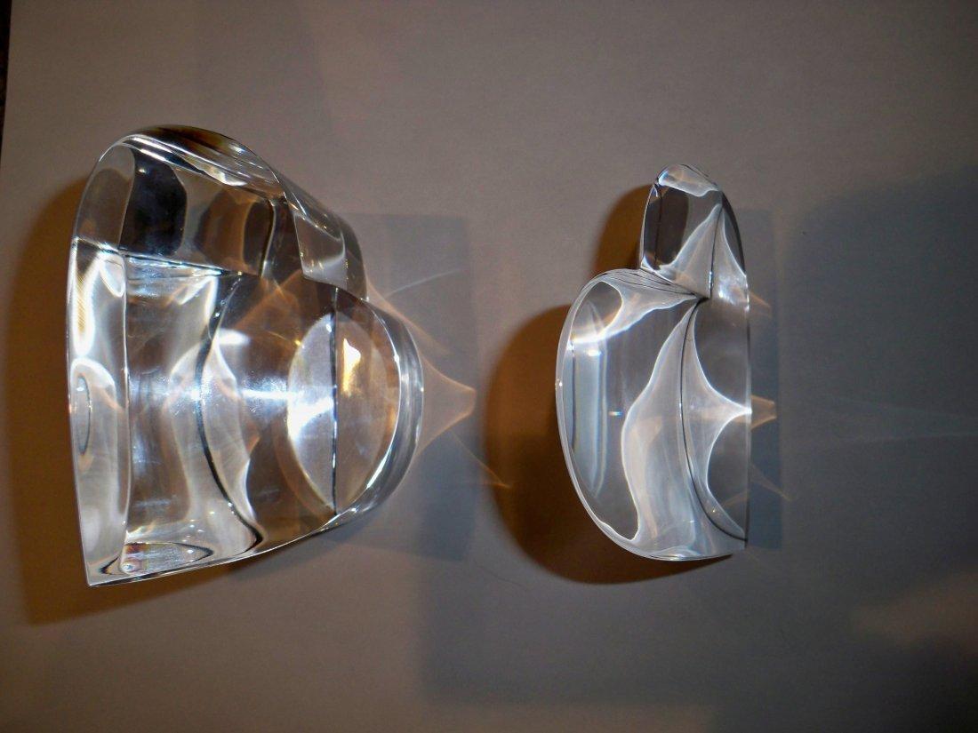STEUBEN art glass crystal HEART PAIR