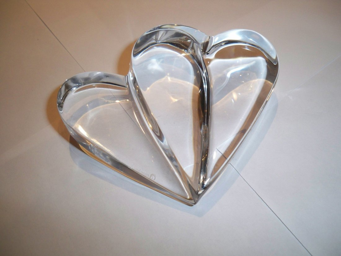 Baccarat Clear DOUBLE HEART paperweight, Signed.