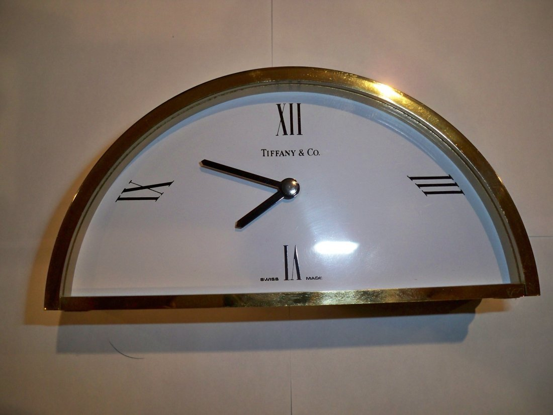 Vintage TIFFANY & CO. Brass Desktop Semi Circle Clock