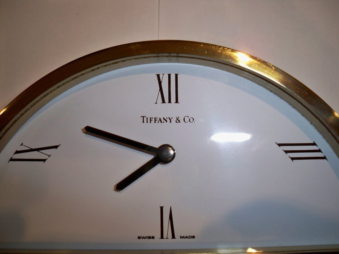 Vintage TIFFANY & CO. Brass Desktop Semi Circle Clock - 2