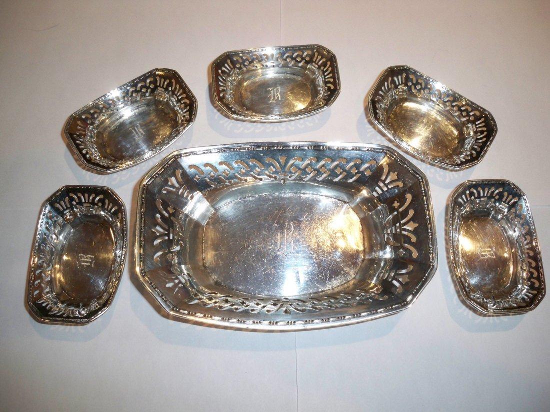Sterling WEBSTER CO. Engraved Tea Bag Holder Set & Dish