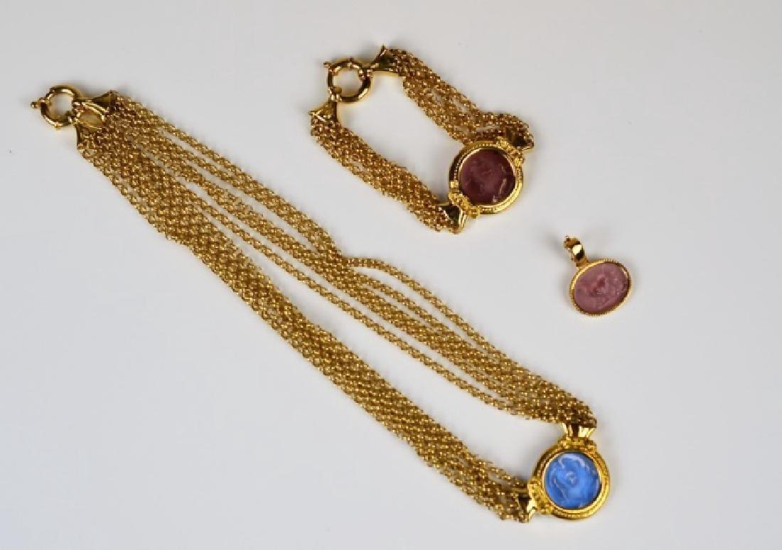 ITALIAN GOLD CAMEO NECKLACE, BRACELET & PENDANT