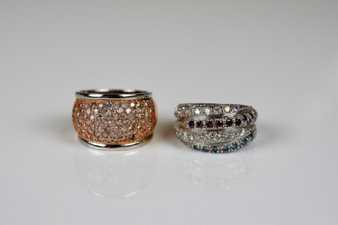 2 WIDE PAVE SET DIAMOND COCKTAIL RINGS