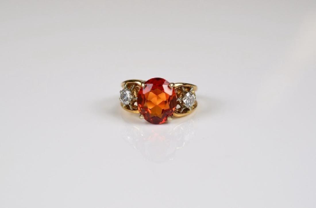 LADY'S YELLOW GOLD FIRE OPAL & DIAMOND RING
