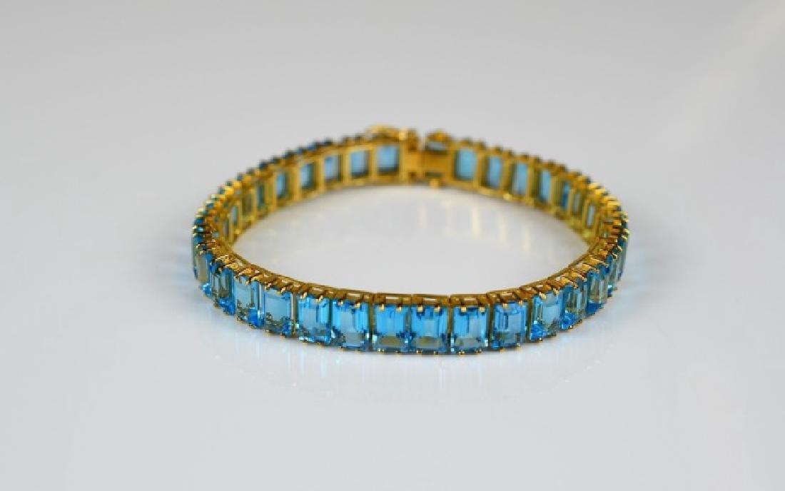 GOLD & BLUE TOPAZ LINE BRACELET - 2
