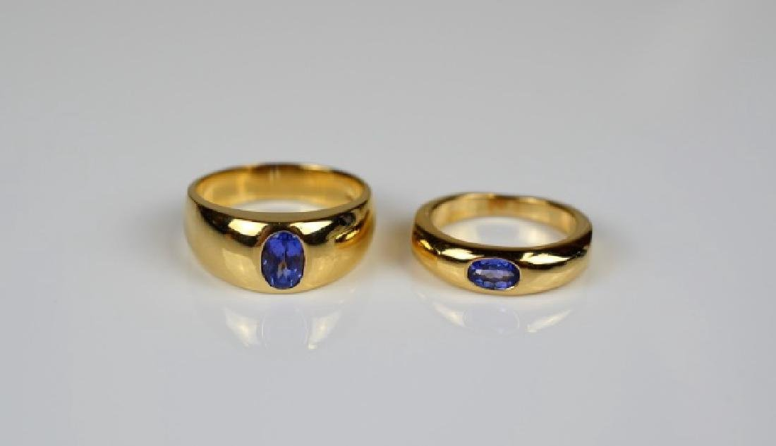 2 YELLOW GOLD ALEXANDRITE BAND STYLE RINGS